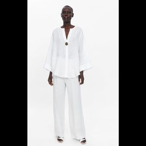 Zara White Linen Top